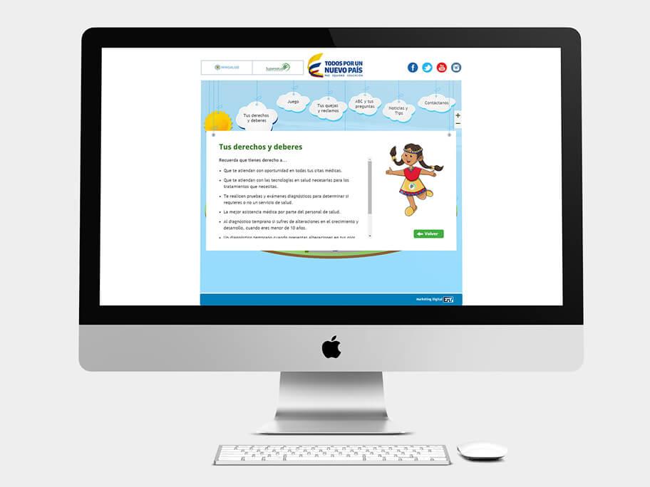 Supersalud, página de Tus derechos y deberes, computador