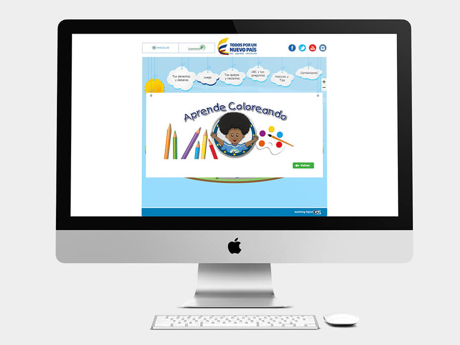 Supersalud, página de Aprende Coloreando, computador