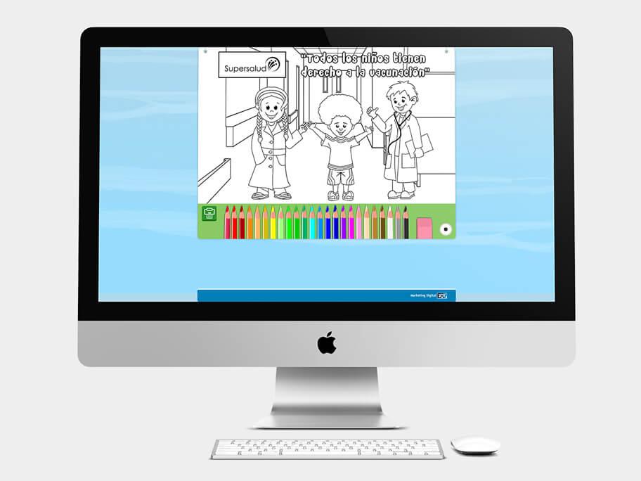 Supersalud, juego Aprende Coloreando, computador