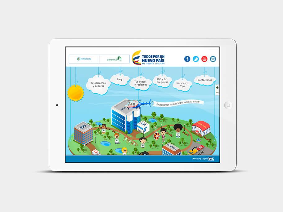 Supersalud, página de Inicio, tablet