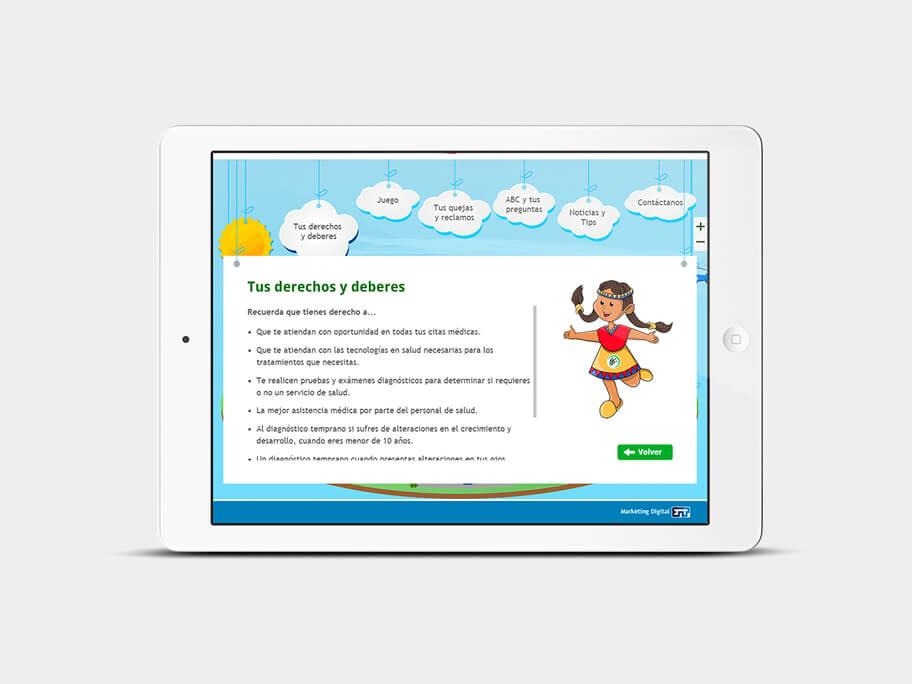 Supersalud, página de Tus derechos y deberes, tablet
