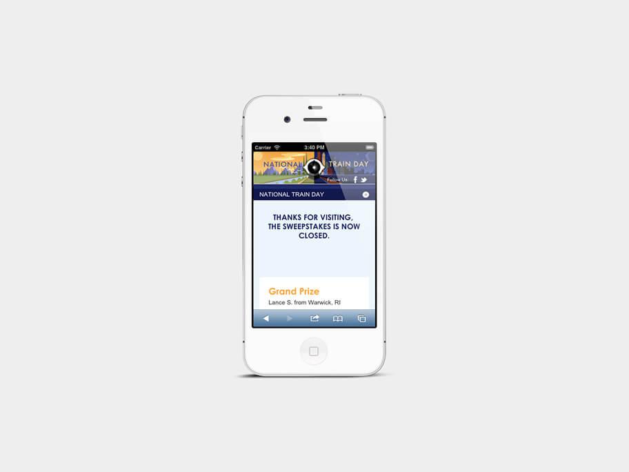 Amtrak Train Days, página de ganadores, en smartphones