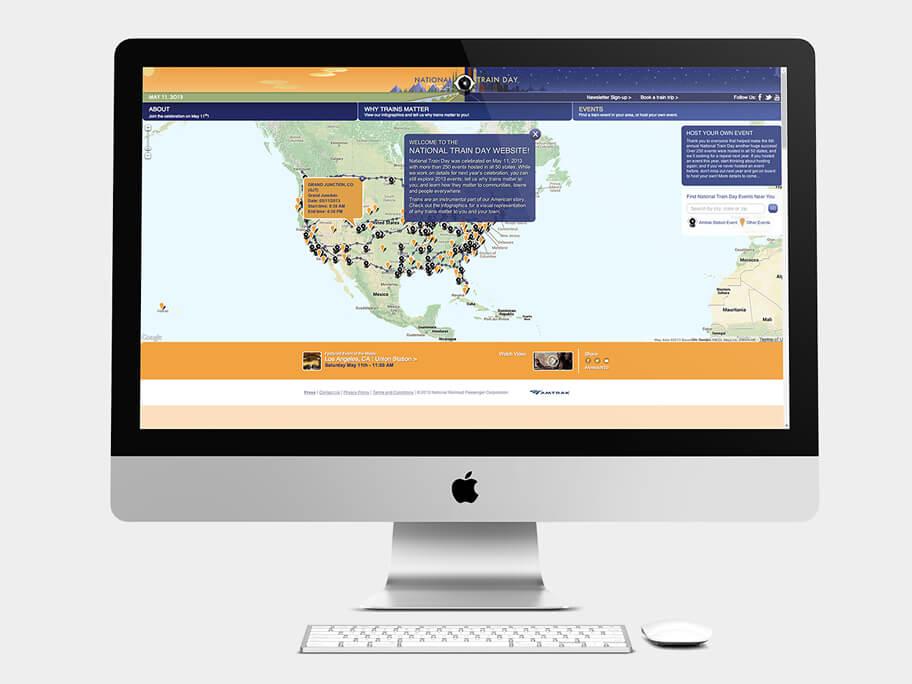 Amtrak Train Days, página de inicio mapa, en computadores