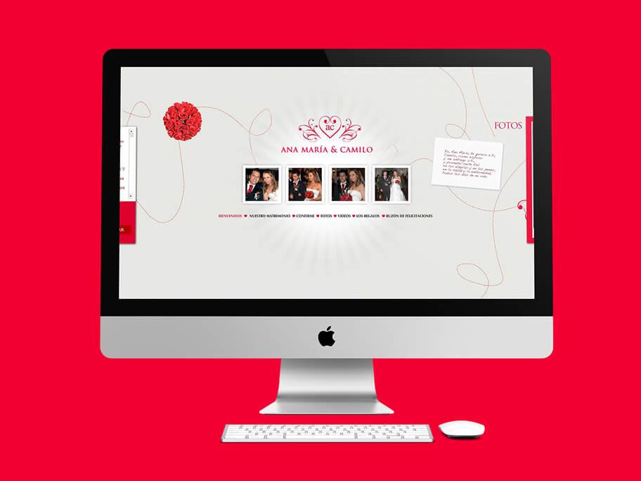 Ana María y Camilo, diseño de página web en Flash