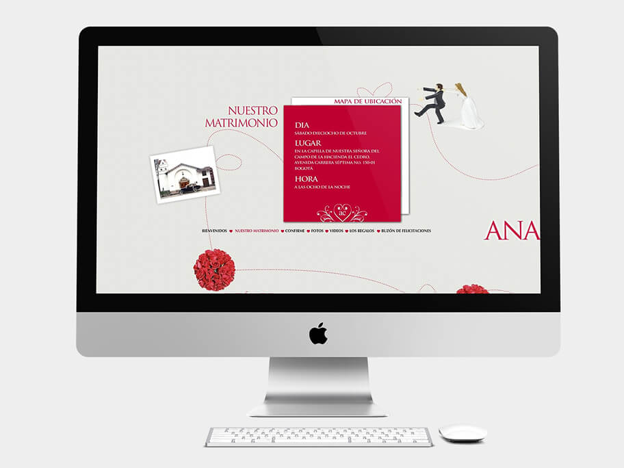 Ana María y Camilo, página de nuestro matrimonio, en computadores
