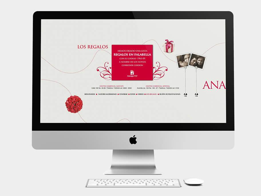 Ana María y Camilo, página de los regalos, en computadores