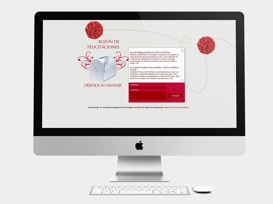 Ana María y Camilo, página de buzón de felicitaciones, en computadores