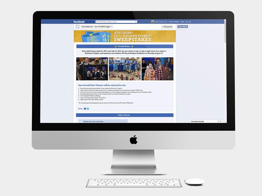 Antiques Roadshow PBS, página de Inicio con formuario, computador