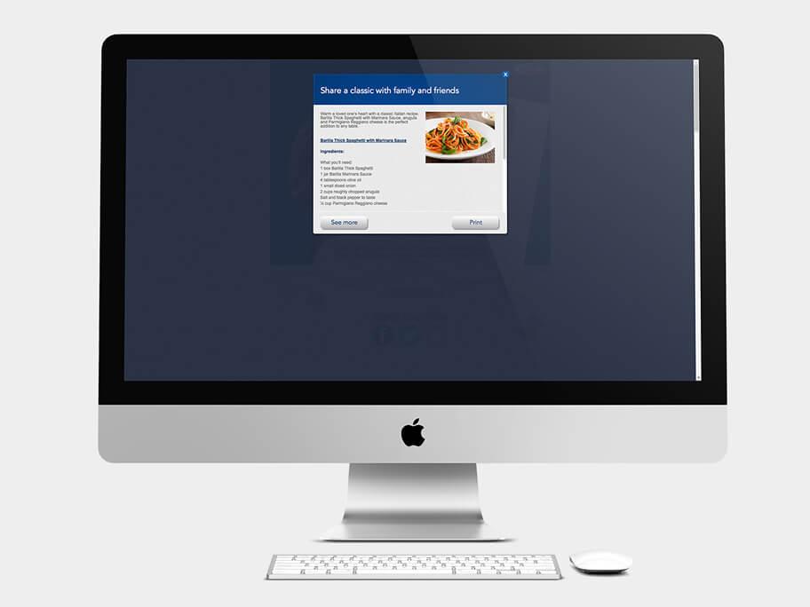 Barilla Pasta, pop-up de Receta, computador