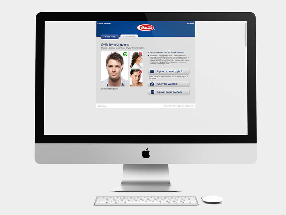 Barilla Pasta, página de Subir Tercera Foto, computador