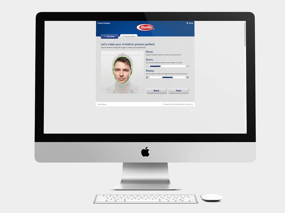 Barilla Pasta, página de Encuadrar Tercera Foto, computador