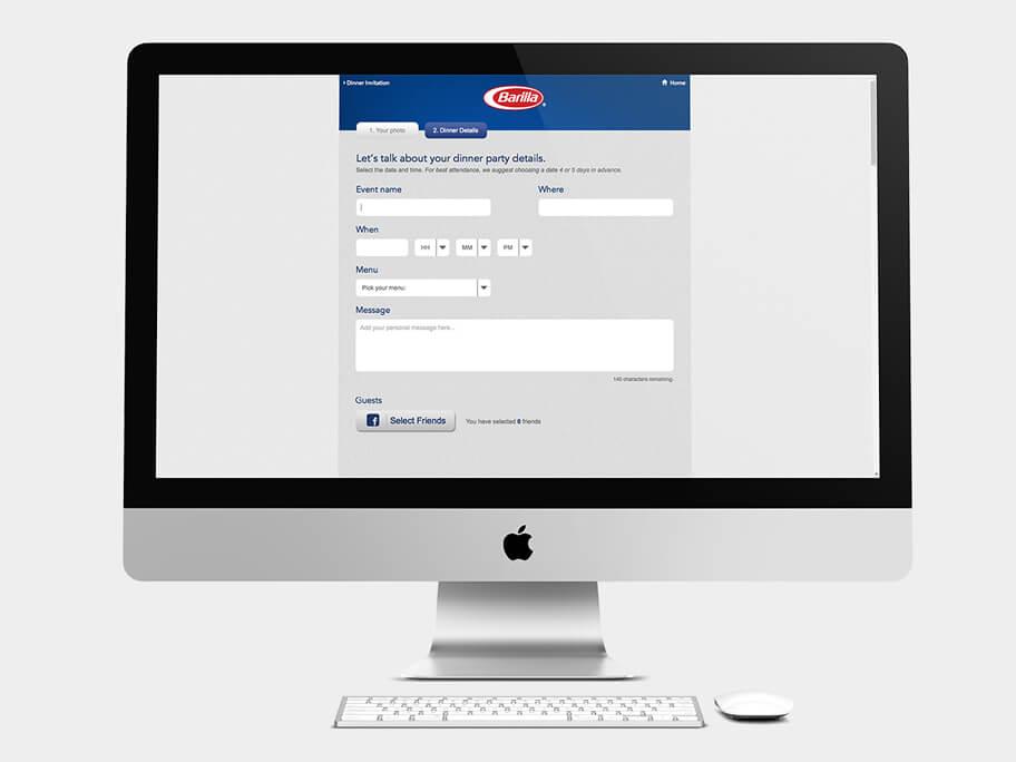 Barilla Pasta, página de Enviar Invitación, computador