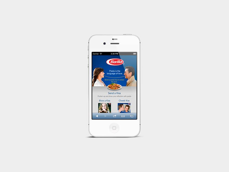 Barilla Pasta, página de Inicio, smartphone