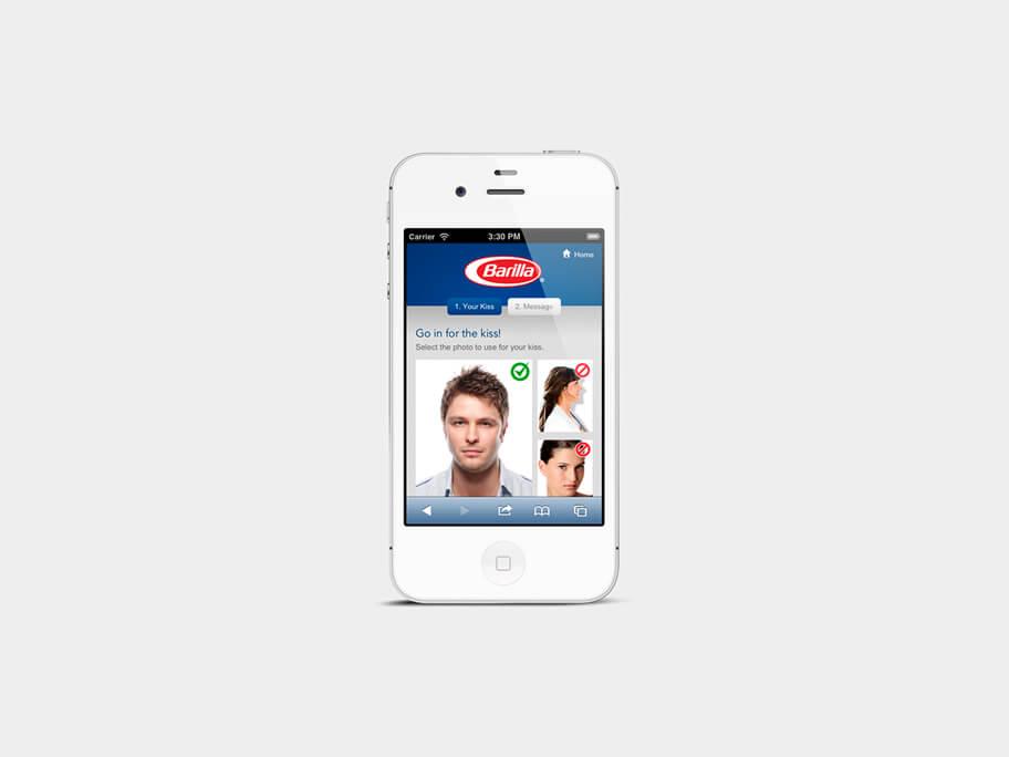 Barilla Pasta, página de Subir Foto, smartphone