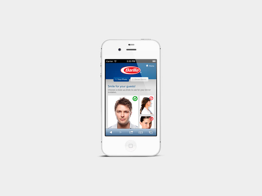 Barilla Pasta, página de Subir Tercera Foto, smartphone