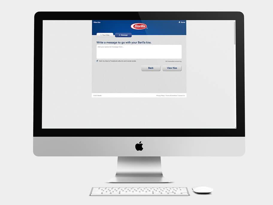 Barilla Pasta, página de Escribir Mensaje, computador