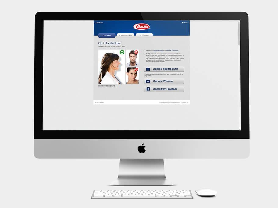 Barilla Pasta, página de Subir Fotos, computador