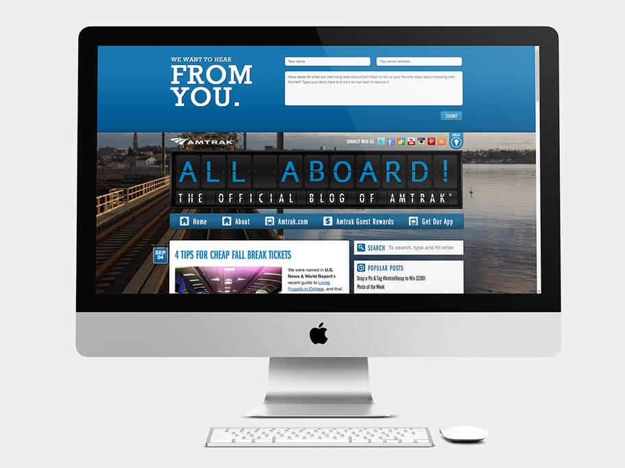 Blog of Amtrak, página de Inicio con formulario, computador