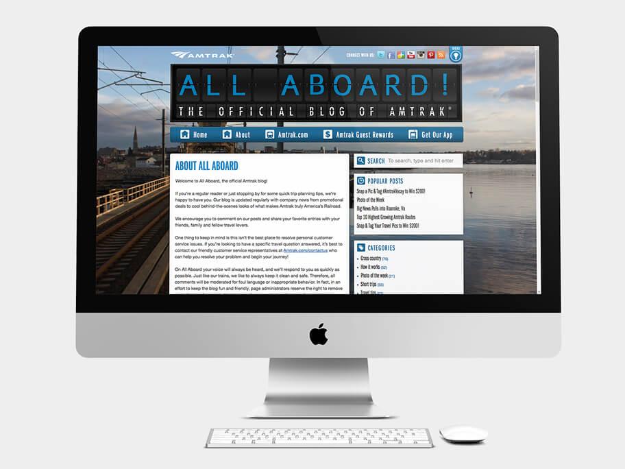 Blog of Amtrak, página de Artículo, computador
