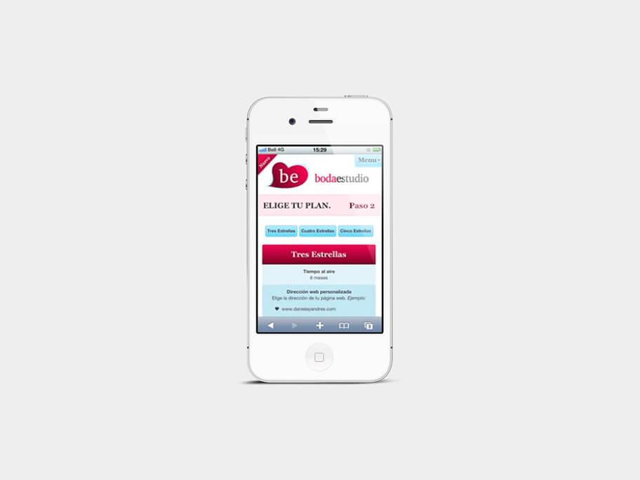 BodaEstudio, página de elige tu diseño, en smartphones