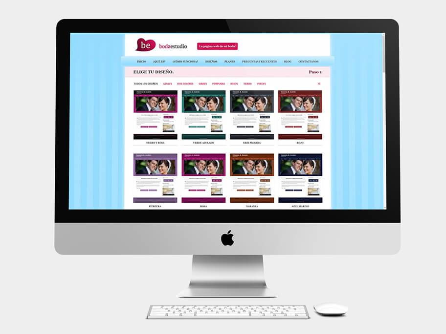 BodaEstudio, página de elige tu diseño, en computadores