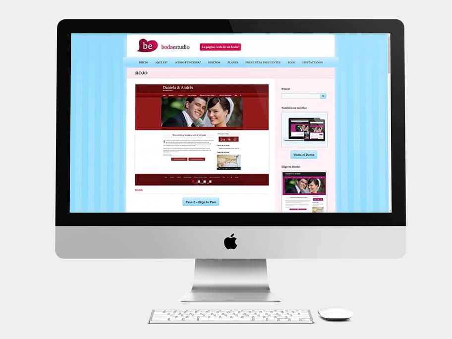 BodaEstudio, página de diseño seleccionado, en computadores