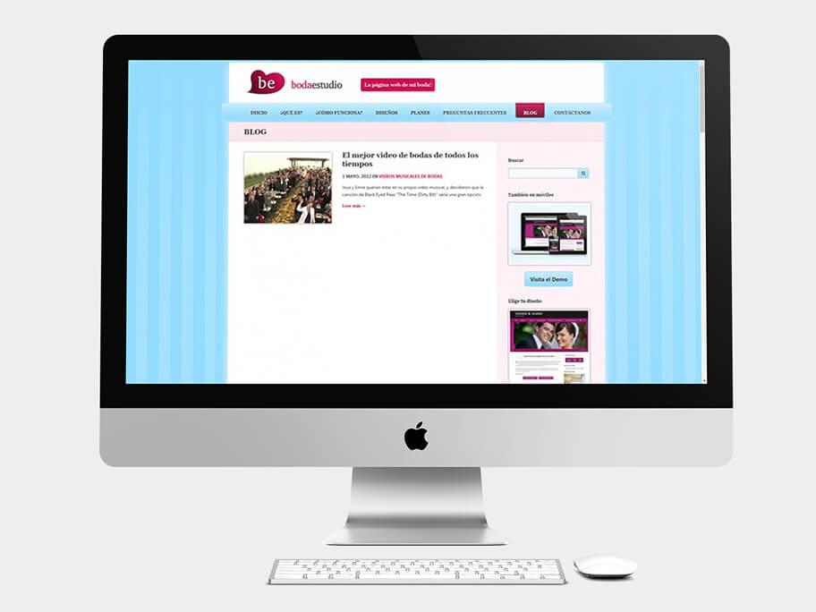 BodaEstudio, página de blog, en computadores
