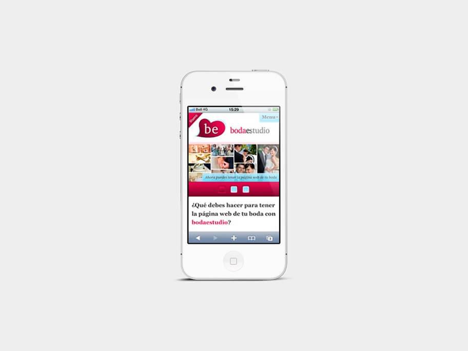 BodaEstudio, página de inicio, en smartphones