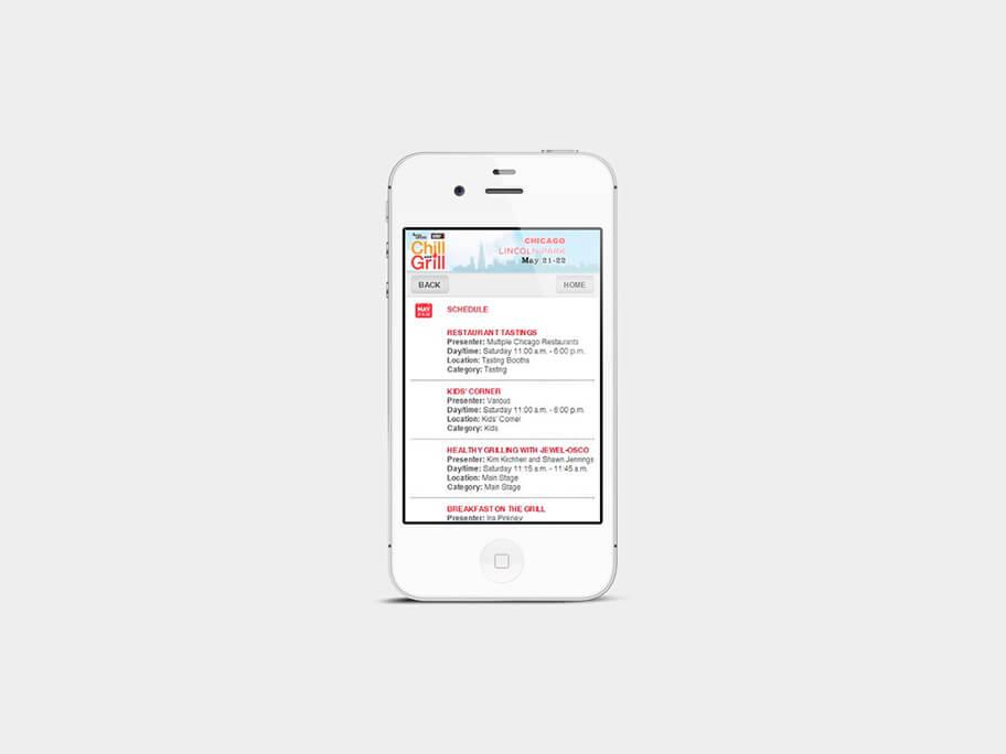 Chill and Grill, página de calendario, en smartphones