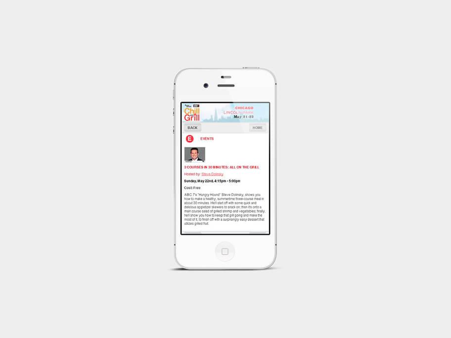Chill and Grill, página de Organizador del Evento, smartphone