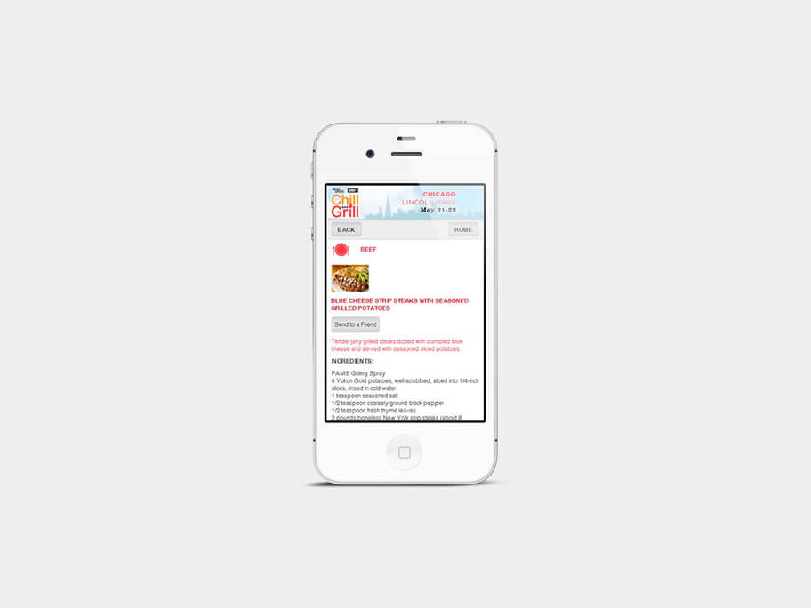 Chill and Grill, página de Carnes, smartphone