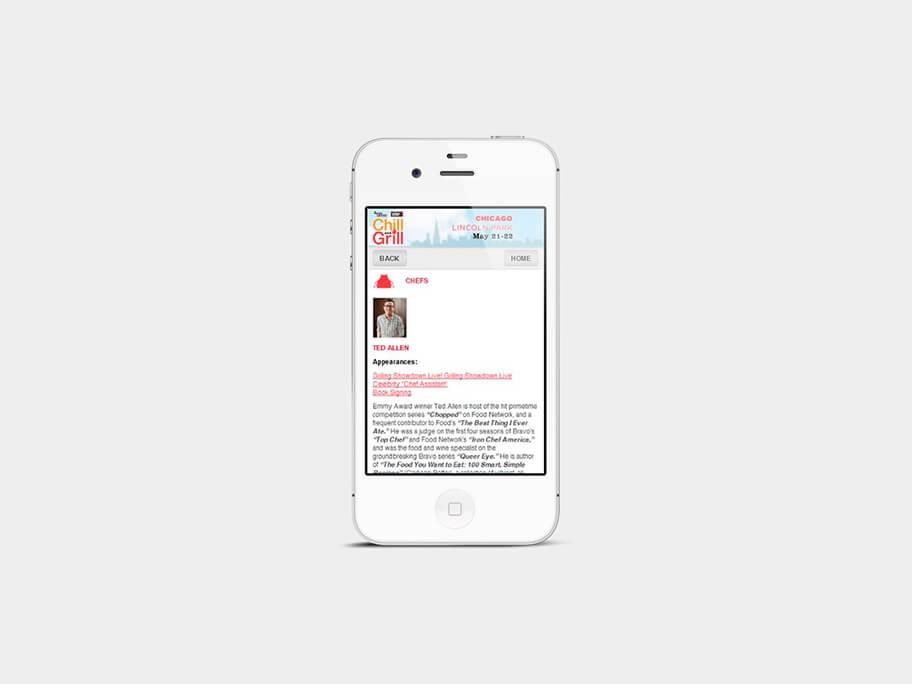 Chill and Grill, página de chefs, en smartphones