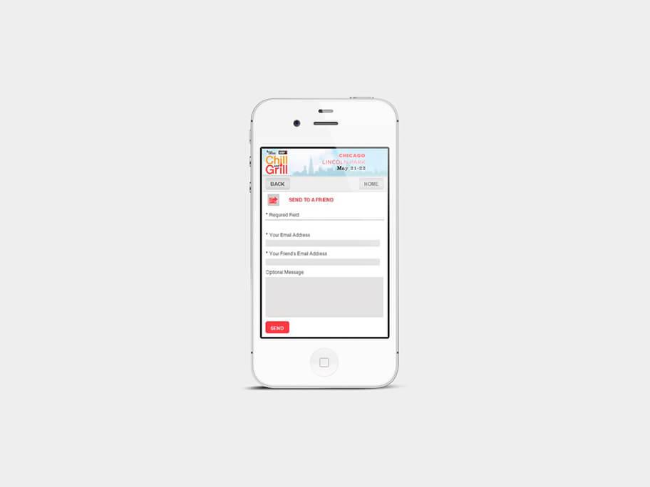 Chill and Grill, página de enviar a amigo, en smartphones