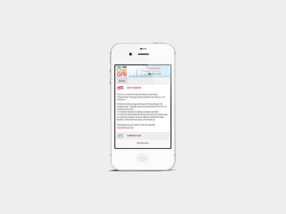 Chill and Grill, página de comprar tickets, en smartphones