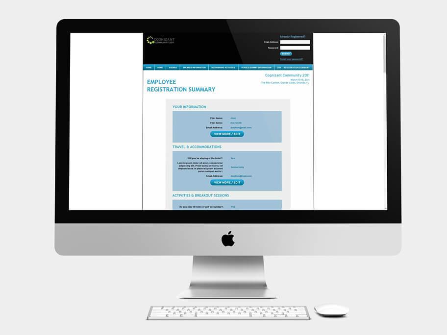 Cognizant Community, página de Resumen de Registro Empleados, computador