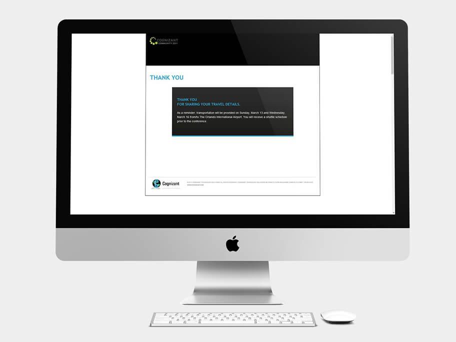Cognizant Community, página de Gracias, computador