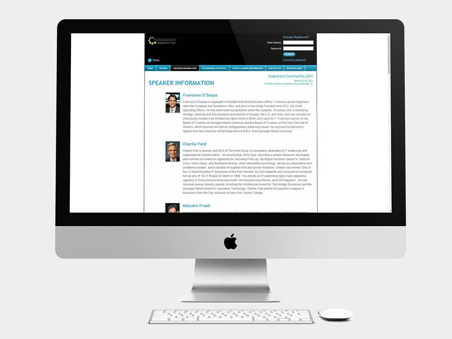 Cognizant Community, página de Información del Orador, computador