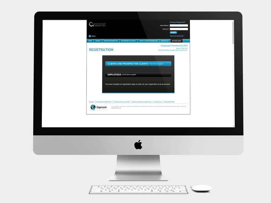 Cognizant Community, página de Registro, computador