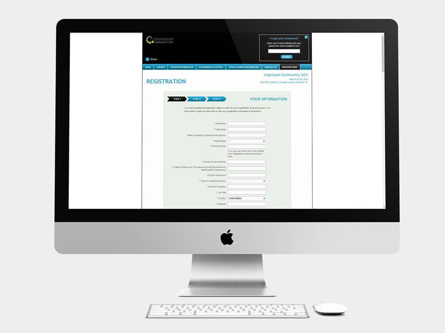 Cognizant Community, página de Registro por pasos, computador