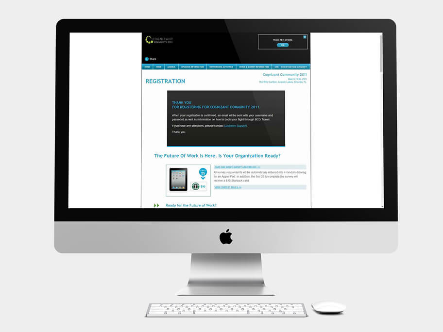 Cognizant Community, página de Página de Registro Finalizado, computador
