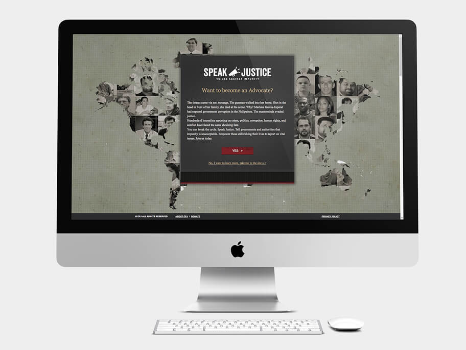 CPJ, página de Ser Defensor, computador