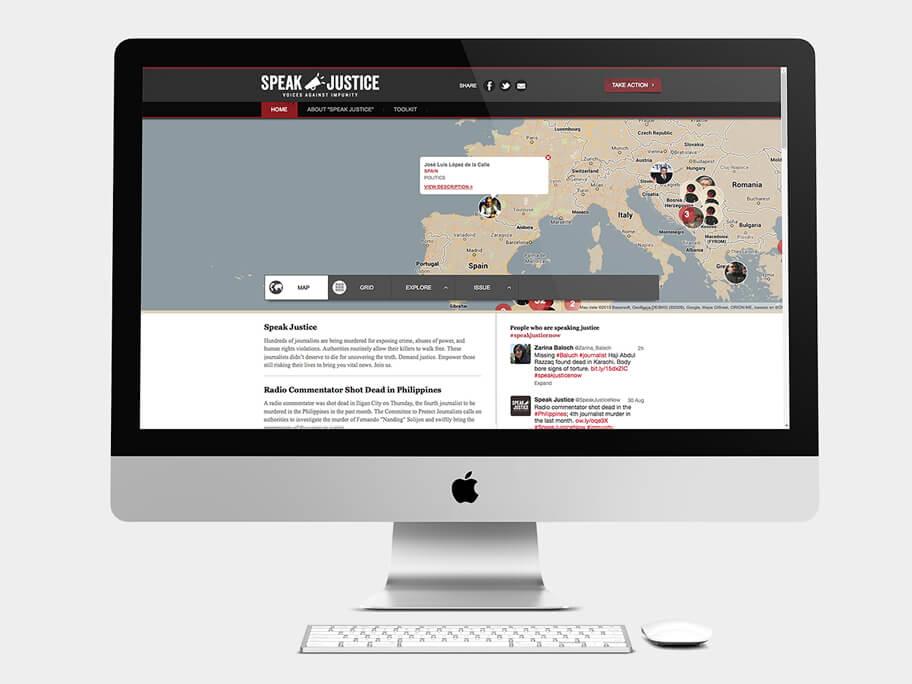 CPJ, página de Inicio con mapa, computador