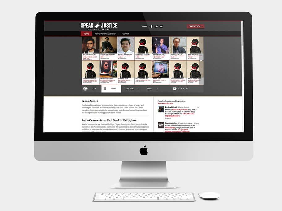 CPJ, página de Periodistas, computador