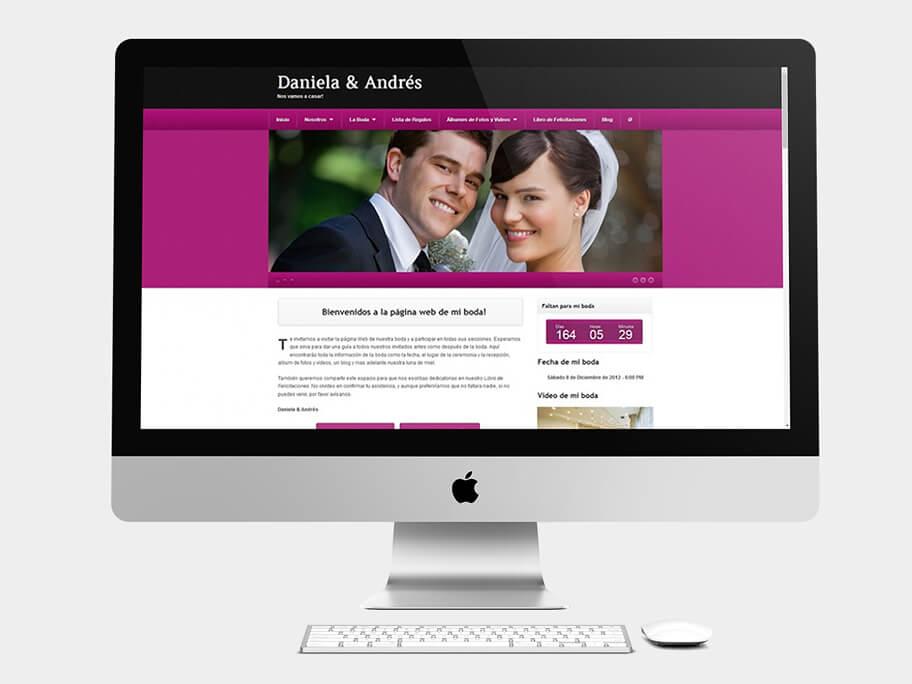 Daniela y Andrés, página de Inicio, computador