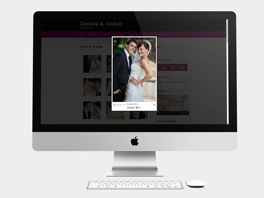 Daniela y Andrés, pop-up de la foto de boda, computador