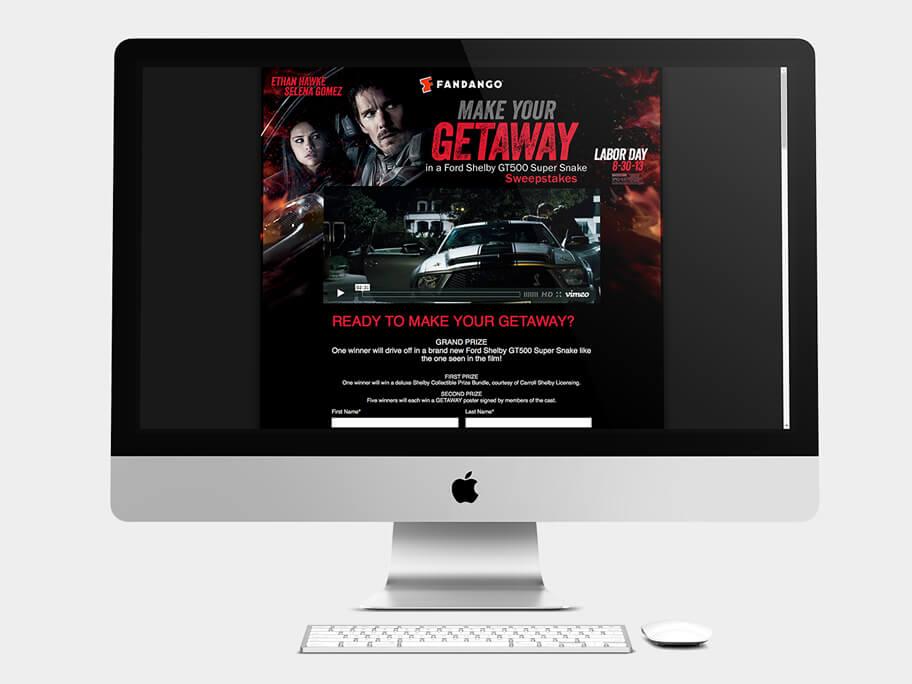 Fandango Tickets Getaway, página de inicio formulario, en computadores