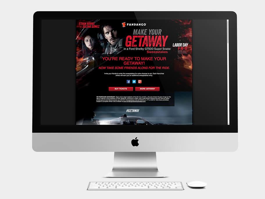 Fandango Tickets Getaway, página de gracias compartir, en computadores