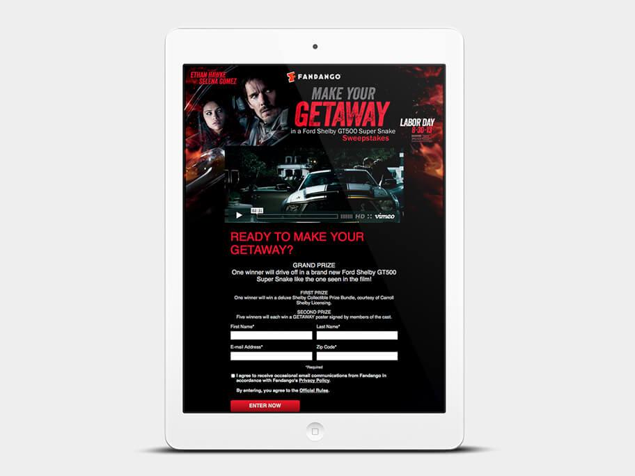 Fandango Tickets Getaway, página de inicio formulario, en tablets