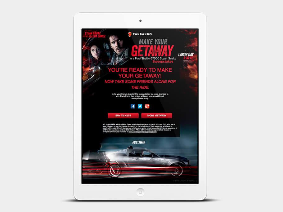 Fandango Tickets Getaway, página de gracias compartir, en tablets