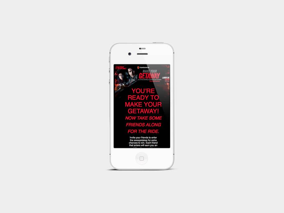 Fandango Tickets Getaway, página de inicio formulario, en smartphones